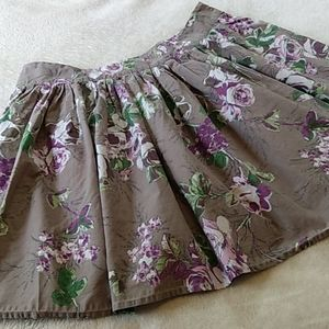 Lux/Urban Outfitters Grey & Purple Floral Skirt